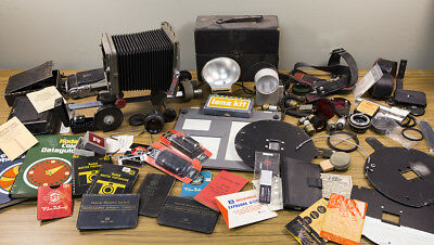Large Lot of Photo Equipment, Enlarger, Easel, Flash Units, Box Cameras, Manuals