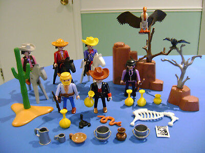 Playmobil Lot #2 Parts Figures Cowboy Western Accessories Horses Birds Weapons