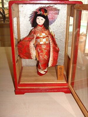 Very Old Antique Japanese Doll Girl in Kimono with Umbrella Geisha Display Case