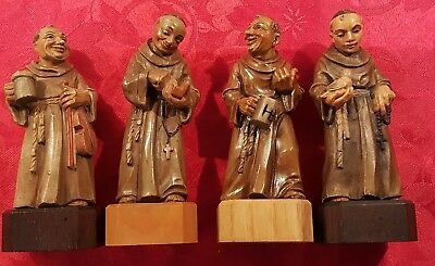 Vintage ANRI Lot of 4 Hand Carved Friar Wood Monks Made in Italy