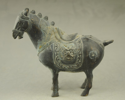 China antique hand engraving bronze horse statue collectible