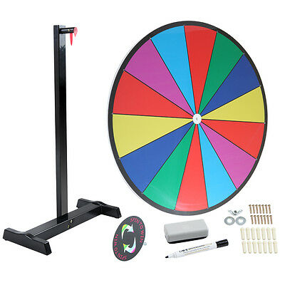 """24"""" Table Top Spinning Prize Wheel 14 Slot Dry Erase Fortune Spin Game"""