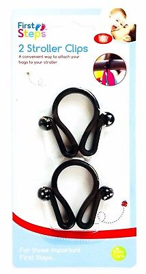 NEW First Steps Pack Of 2 Large Bag Clips Pushchair, Buggy, Pram Stroller Handle