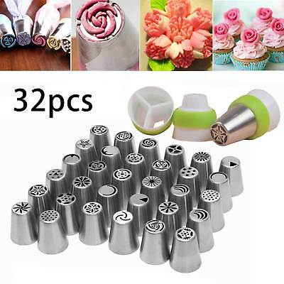 32/42x Russian Icing Piping Nozzles Flower Cake Decorating Tips Pastry Tools Set