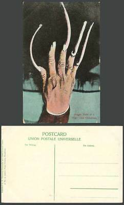 China Old Colour Postcard Very Long Finger Nails of Chinese High Class Chinaman