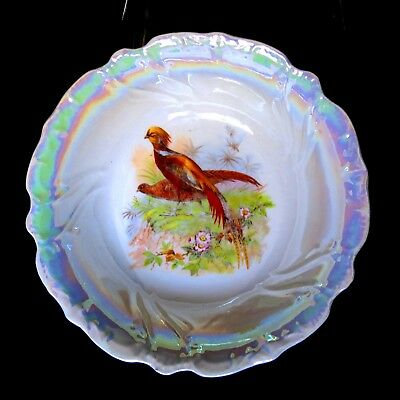 "91/2"" Antique RCW Bavaria Shabby Chic Country French Luster Ware Pheasant Bowl"