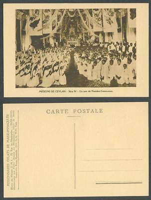Ceylon Missions Old Postcard First Communion Day, Boys Girls in Church Cathedral