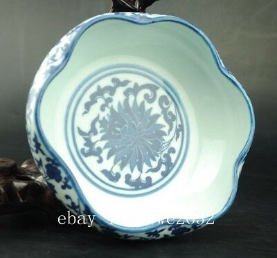 China White and blue Porcelain Hand-painted flower writing-brush washer   ZA