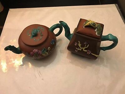 2 Vintage Chinese YIXING Clay Teapot w/ Teal Enameled Bamboo Spout & Handle