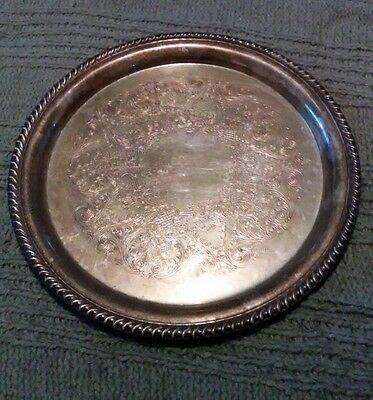 """WmRogers 171Silver Plated 12.5"""" Round Etched Serving Platter Tray Rope Edge"""