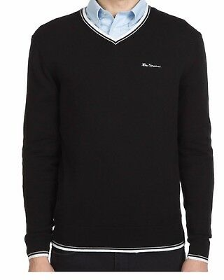 Ben Sherman Mens Tipped V Neck Jumper Pullover Black New with Tags