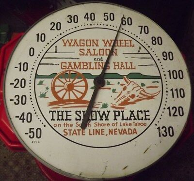 Vintage Wagon Wheel Casino Advertising Thermometer Early Harvey's Lake Tahoe