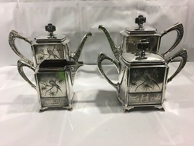Antique Pairpoint Quadruple Silver Plate Birds Victorian Coffee Tea Pot Tea Set
