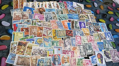 Over 100 Greek Stamps Used in Very Good Condition 1960s-70s Bulk Lot