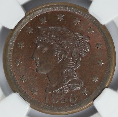 1850 1c Braided Hair N-7 Large Cent NGC MS 65 BN