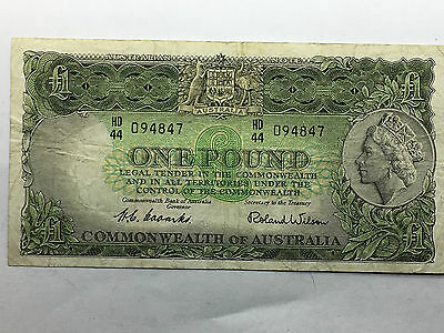 Commonwealth of Australia £1 ONE POUND Banknote  Coombs Wilson