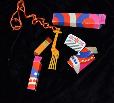 Mixed Lot 3 Vintage 1973 Avon Pencil Comb Shaped Hair Barrette Giraffe Necklace