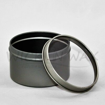12 x SILVER TRAVEL TINS WITH CLEAR WINDOW FOR CANDLE MAKING