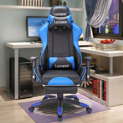 PU Leather High Back Racing Home Office Chair, Ergonomic Gaming Chair w/Footrest