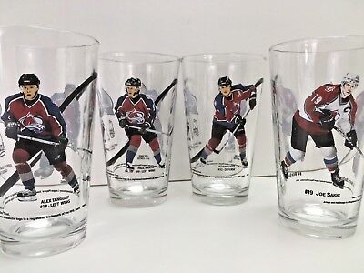 Colorado AVALANCHE Beer Pint Glasses 4 Arbys Collector Series Blake Foote Sakic