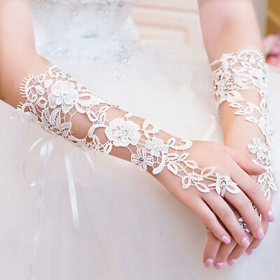 White Bridal Wedding Lace Fingerless Gloves Elbow Length Rhinestone Accents USA