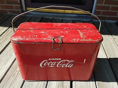 Vintage Coca Cola Cooler, Rare Size With Ice Cube Insert