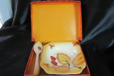 Vintage Empire Ware Jam Dish And Spoon Hand Painted Circa 1940's - 1950's