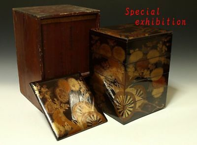 Japan Antique Gold makie lunch box case tea samurai tsuba koshirae tsuka armor