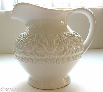 Pre-Owned Whte Ceramic Neo-Classical Style Pitcher, Ceramica Stefan, Italy