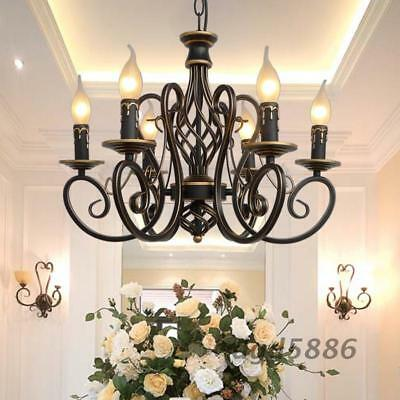 European Style Candle Chandelier 6 / 8 Candle Lighting Lamps Wrought Iron