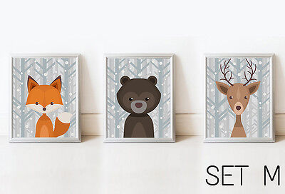 SET Woodland Cute Animal Nursery Decor Kid Printable Picture Baby Room No Frame