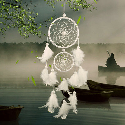 White Feathers Handmade Dream Catcher Hanging Craft Car Wall Ornament Home Decor