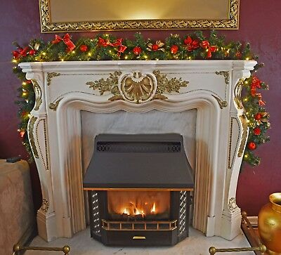 Pre Lit 2 7m Red Stairs Fireplace Christmas Garland 40 Warm White Lights 9ft