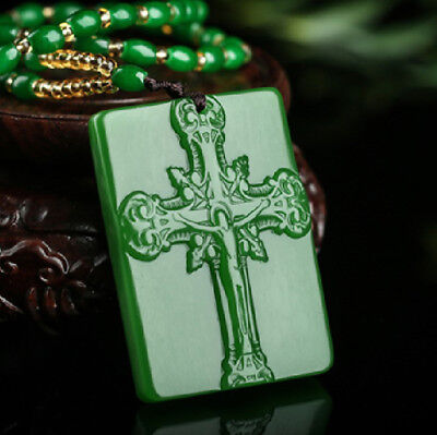 Chinese manual exquisite Green Jade Cross Pendant Necklace Jewellery decorate