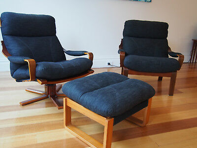 Pair of Vintage Tessa T8  Lounge Chairs Retro Armchairs 1970s Fred Lowen