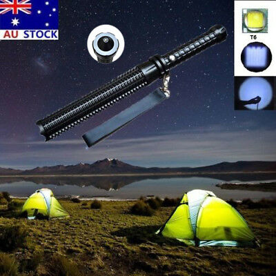 LED Flashlight Self-Protect Outdoor Camping Military Tactical Zoom Torch Lamp AU