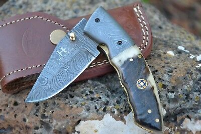 "HUNTEX Handmade Damascus 4.3"" Long Clip Pt Ram Horn Hunting Folding Pocket Knife"