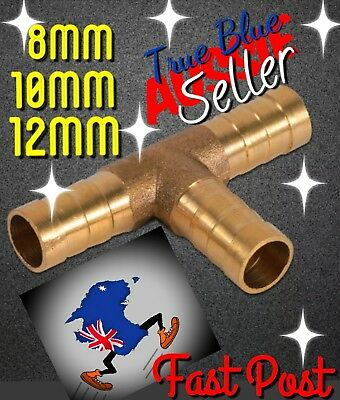 12mm 10mm 8mm 6mm T  Brass Air Hose Barbed Fitting Fuel Line Water Connection