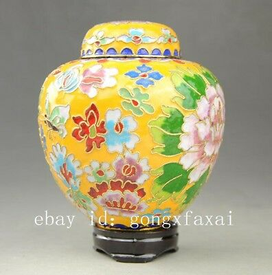 Beautiful Chinese Cloisonne Enamel Hand-painted Peony  pot Jar  G