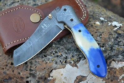 "HUNTEX Handmade Damascus 4.4"" Long Spey Pt Hunting Folding Skinning Pocket Knife"