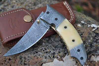 "HUNTEX Handmade Damascus 5"" Long Trailing Hunting Folding Skinning Pocket Knife"