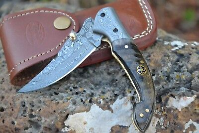 HUNTEX Handmade Damascus 4.4 Inch Trailing Hunting Folding Skinning Pocket Knife