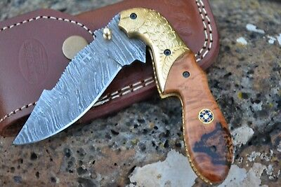 HUNTEX Handmade Damascus 4.3 Inch Clip Pt Hunting Folding Skinning Pocket Knife