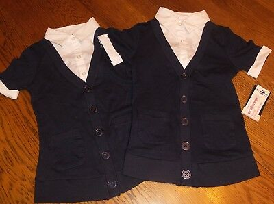 Sz 5/6 Lot of 2 French Toast Little Girls' Combo Layer Top Mock 2Fer Cardigan