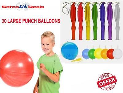 5 X NEON Large 60cm Punch Ball Balloons Assorted Colour Party Bag Fillers Prizes