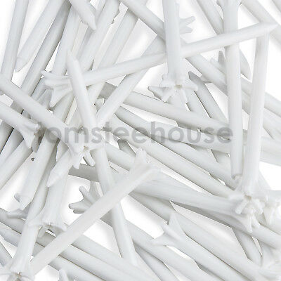 50 x Zero Friction Plastic Golf Tees - 70mm WHITE TEES