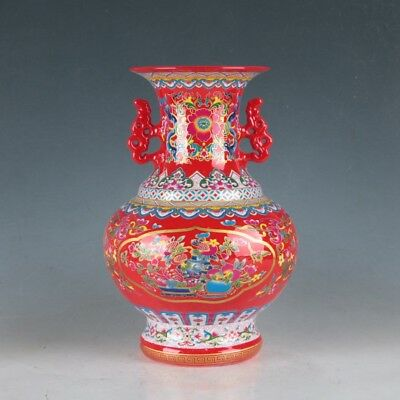 China Pastel Porcelain Hand-Painted Peony Vase Made During The Daqing Qianlong