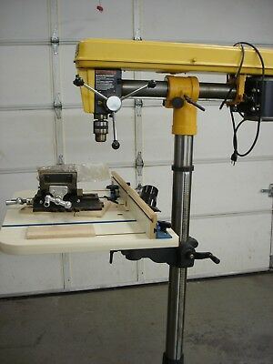 AMT Floor Model 5175 1 HP Radial Drill Press w Mobile base, manual, table fence.