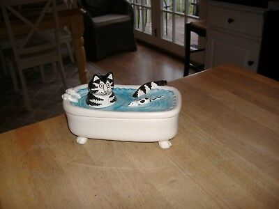 B KLIBAN Cat Ceramic Trinket Box Cat & Mouse in Bathtub Vtg SIGMA Tastesetter