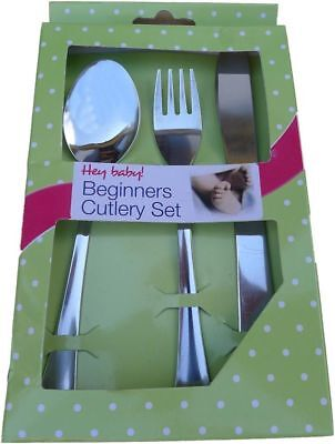 New Baby Infant Toddler Beginners First Cutlery Set Knife Ford Spoon Stainless